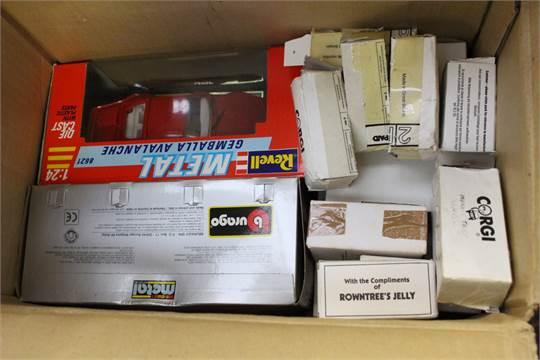 A box of Corgi vehicles etc, mostly boxed