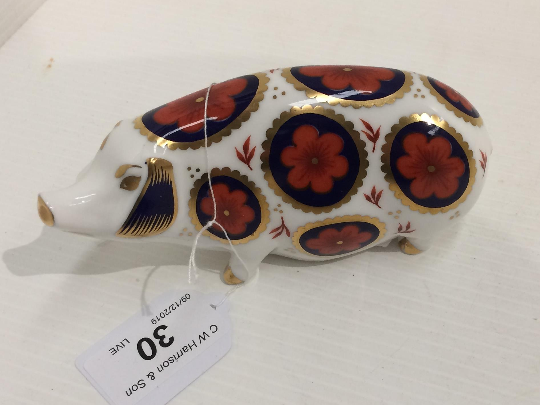 Lot 30 - A Royal Crown Derby bone china Pig paperweight - 14cm long