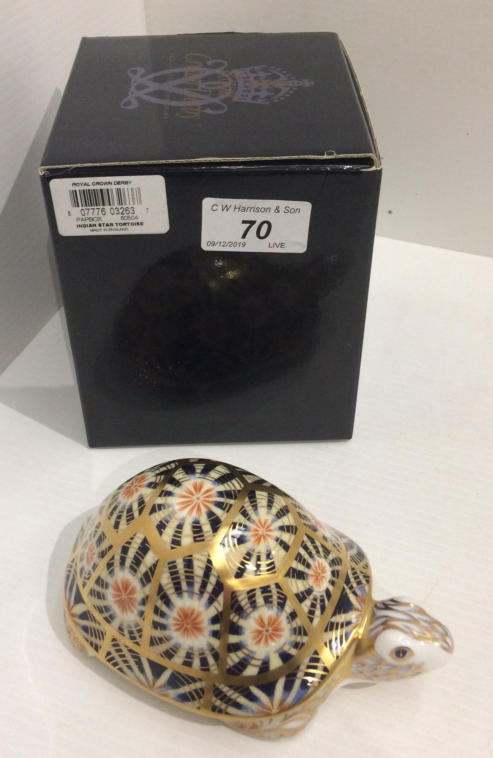 Lot 70 - A Royal Crown Derby bone china Indian Star Tortoise paperweight - 15cm long,