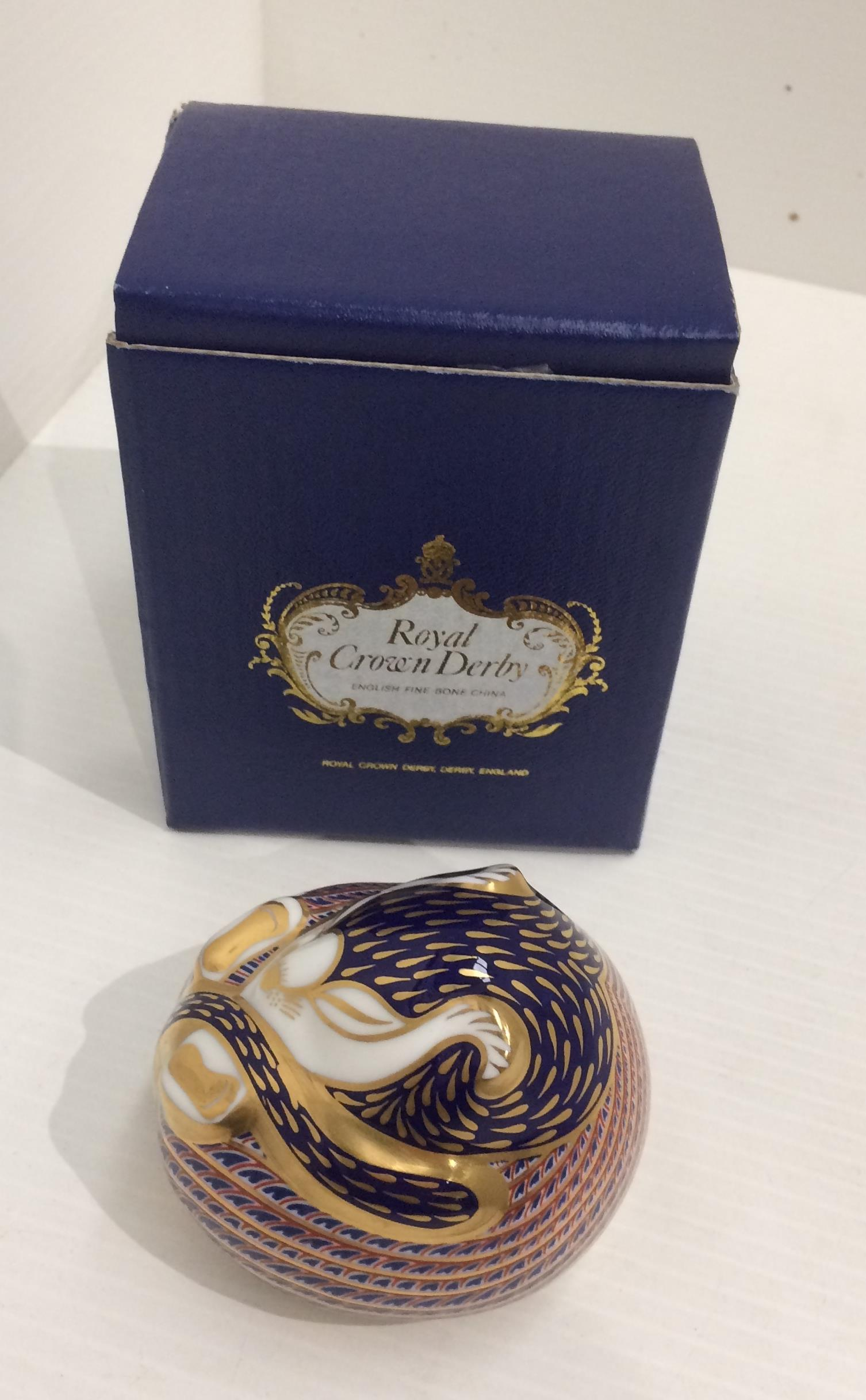 Lot 45 - A Royal Crown Derby bone china Imari patterned Dormouse paperweight - 8cm long,