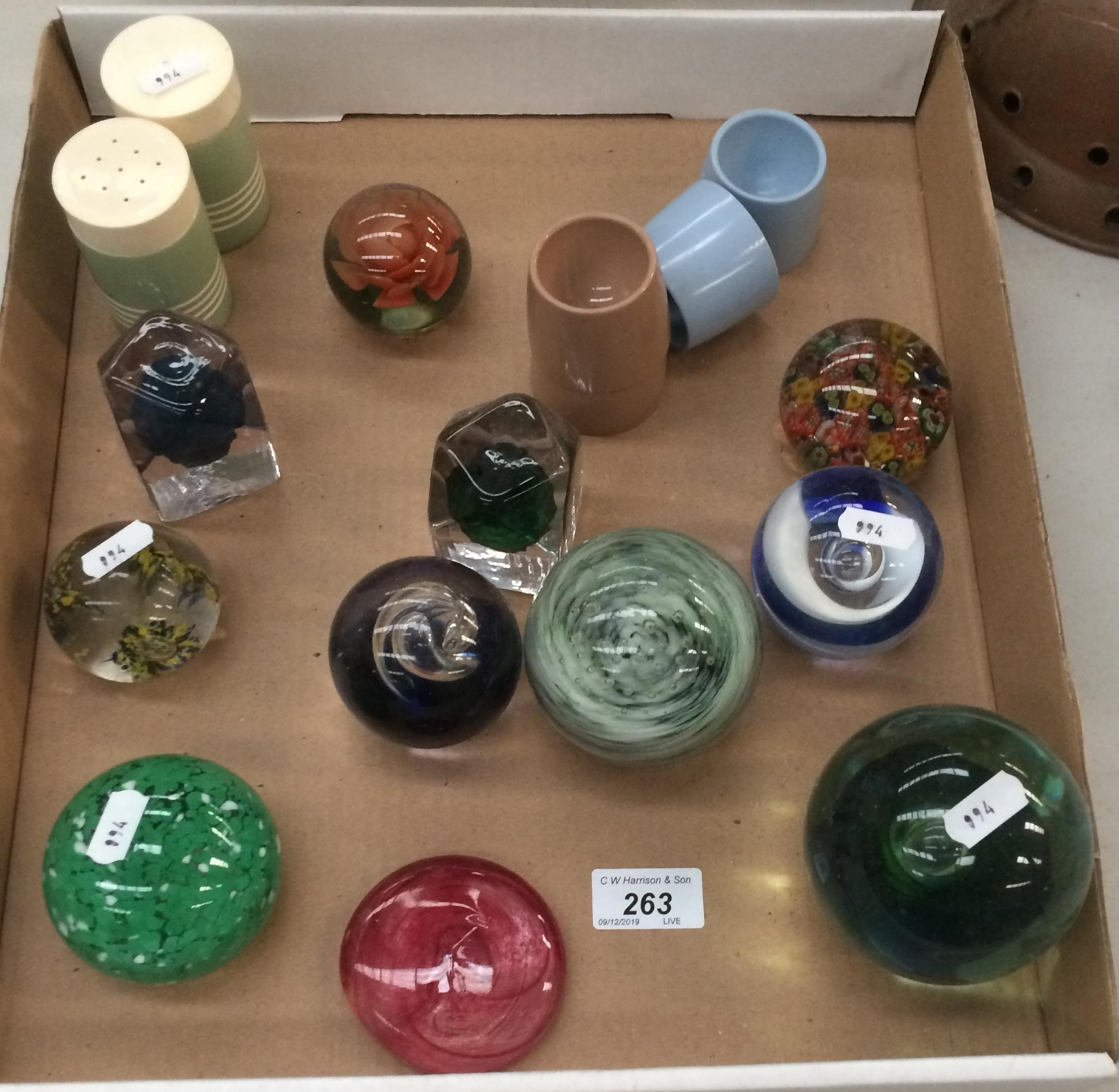 Lot 263 - Contents to tray - eleven glass paperweights,