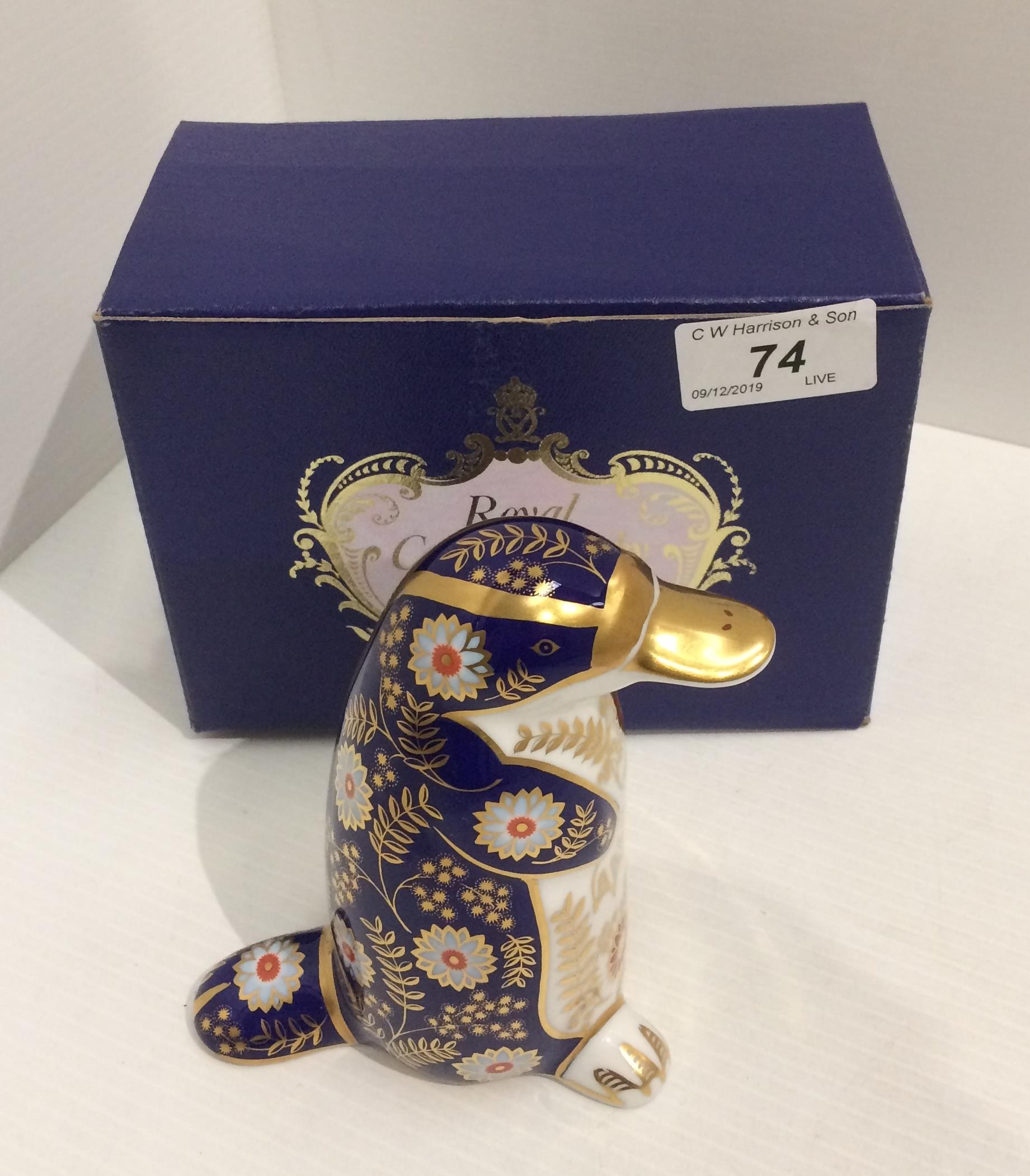 Lot 74 - A Royal Crown Derby bone china Platypus paperweight - 12.