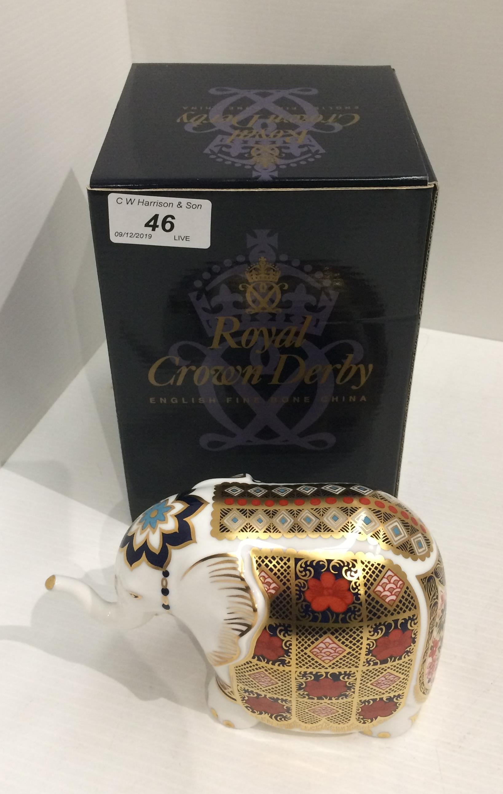 Lot 46 - A Royal Crown Derby bone china P/W S/S Imari patterned Elephant paperweight - 14cm long,