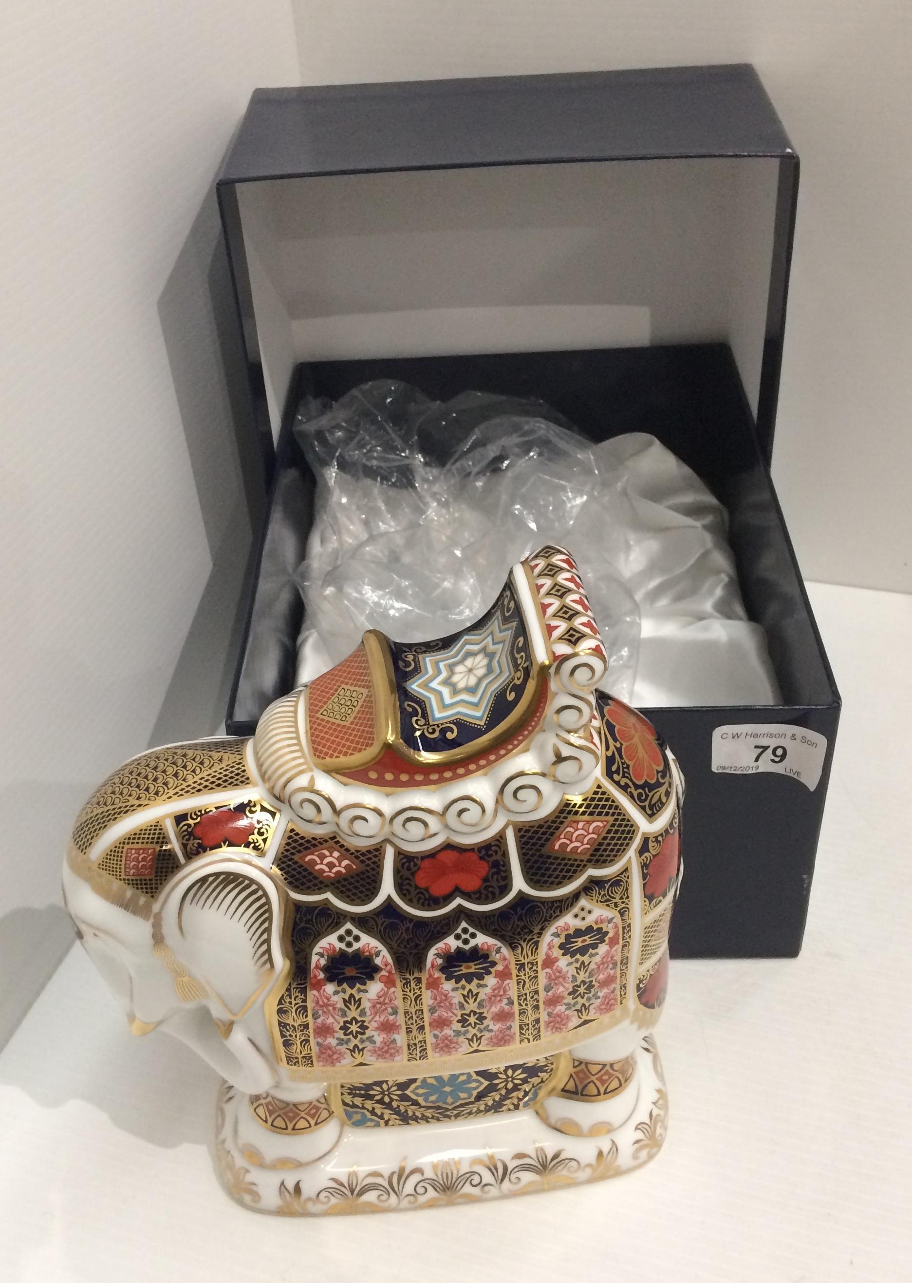 Lot 79 - A Royal Crown Derby bone china Indian Elephant - 18cm long x 21cm high,