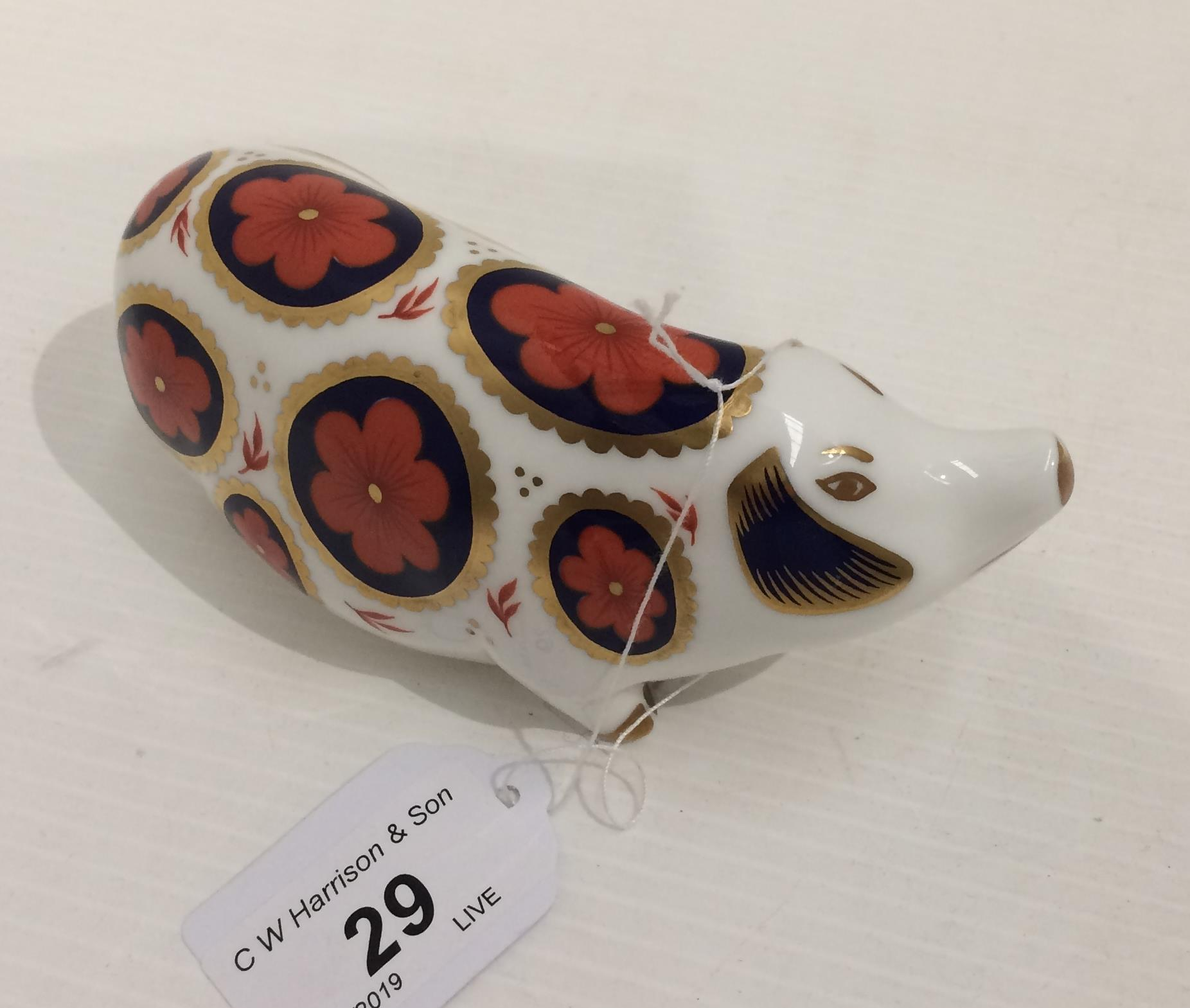 Lot 29 - A Royal Crown Derby bone china Pig paperweight - 14cm long