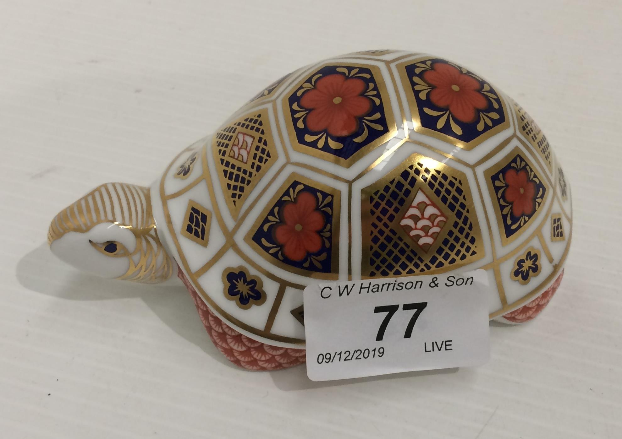Lot 77 - A Royal Crown Derby bone china paperweight Turtle - 12cm long,