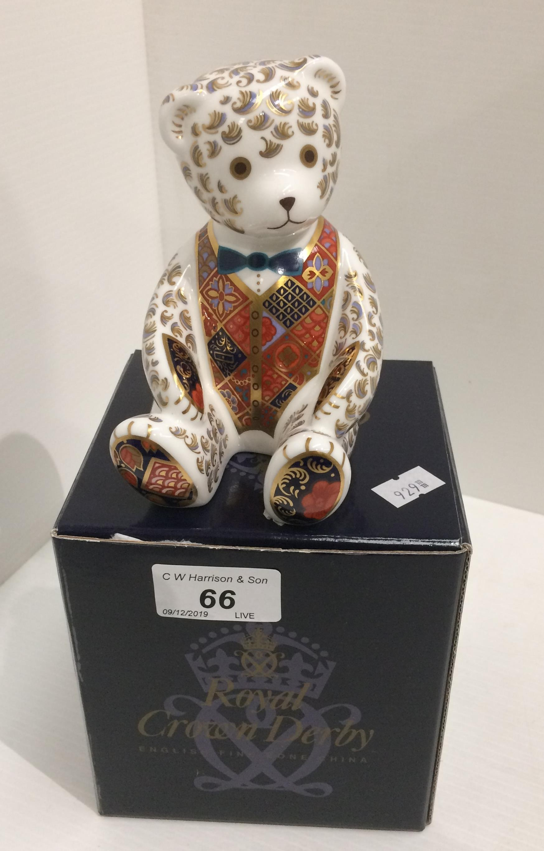 Lot 66 - A Royal Crown Derby bone china Debonair Bear paperweight - 12.