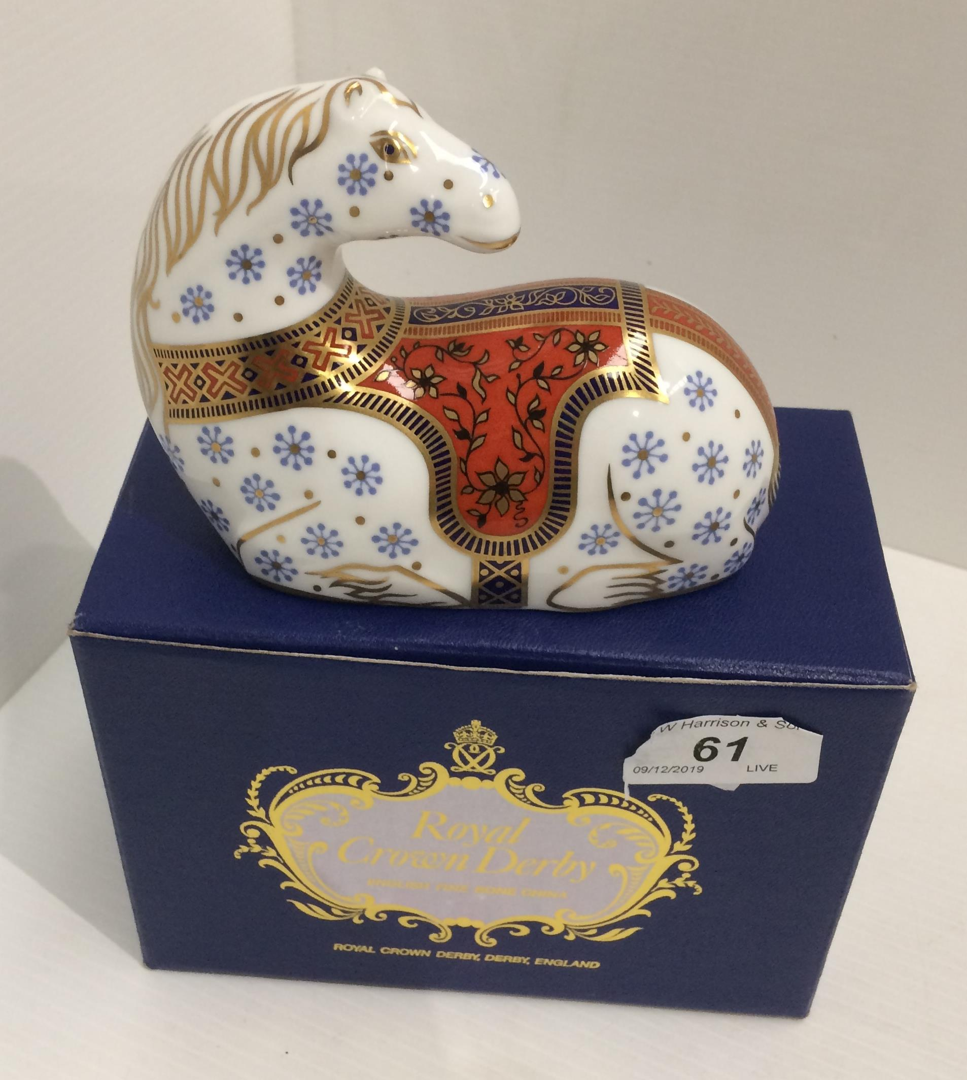 Lot 61 - A Royal Crown Derby bone china Horse paperweight - 13cm long,