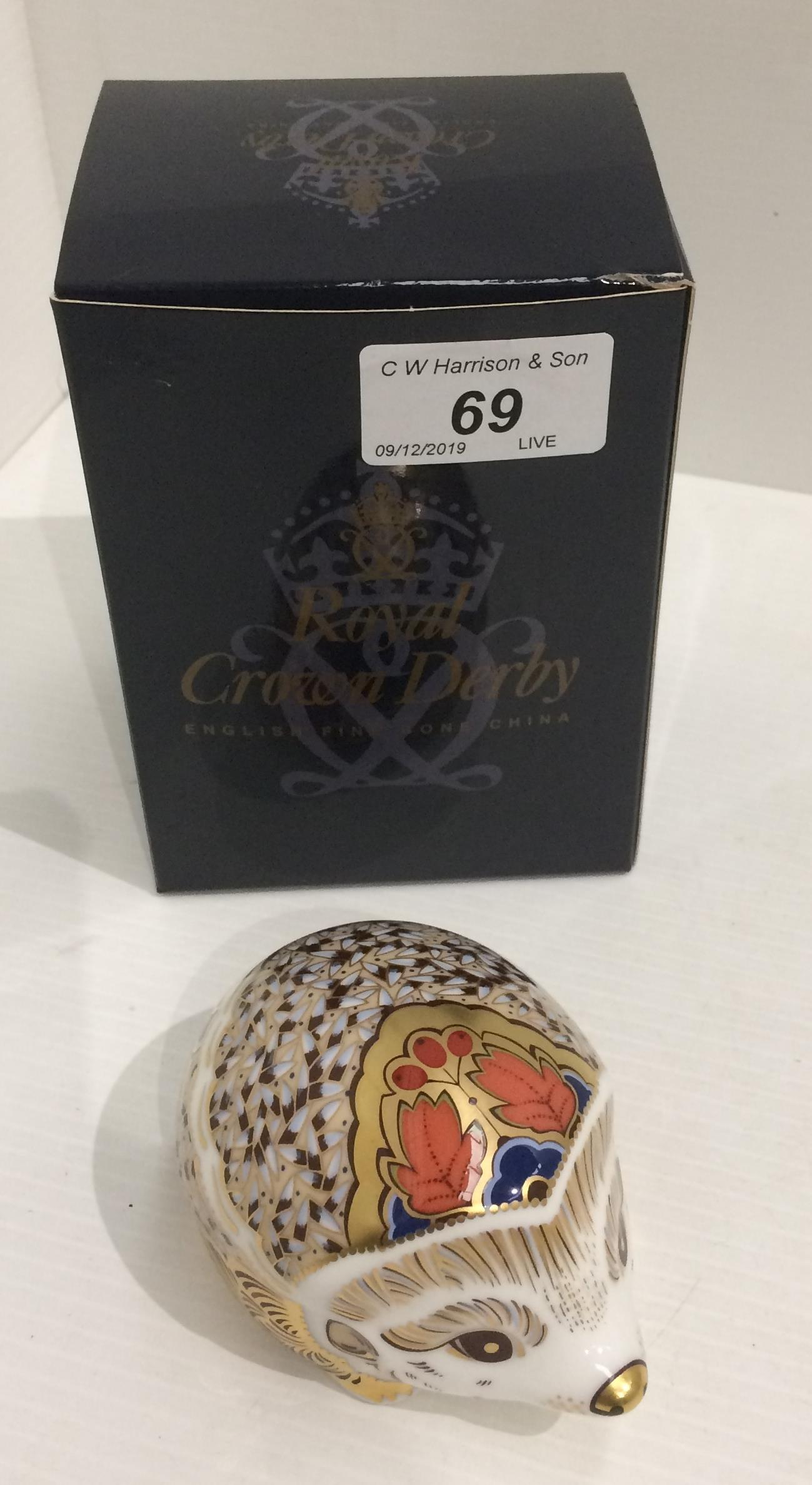 Lot 69 - A Royal Crown Derby bone china Hedgehog paperweight - 10cm long,