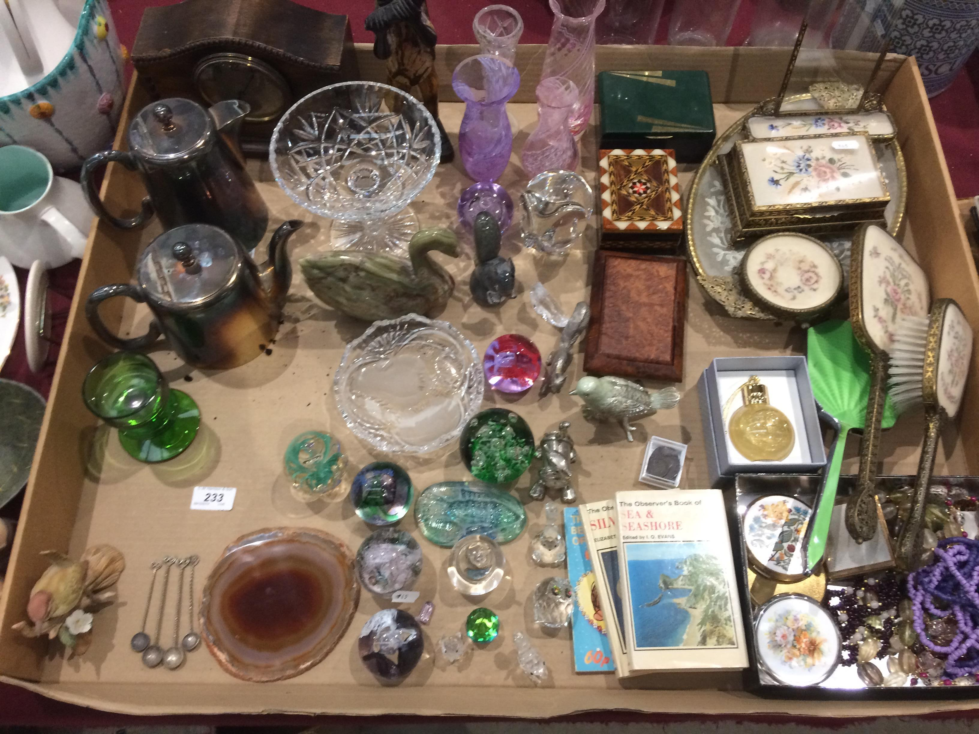 Lot 233 - Contents to tray - glass paperweights, dressing table set, Observer books,