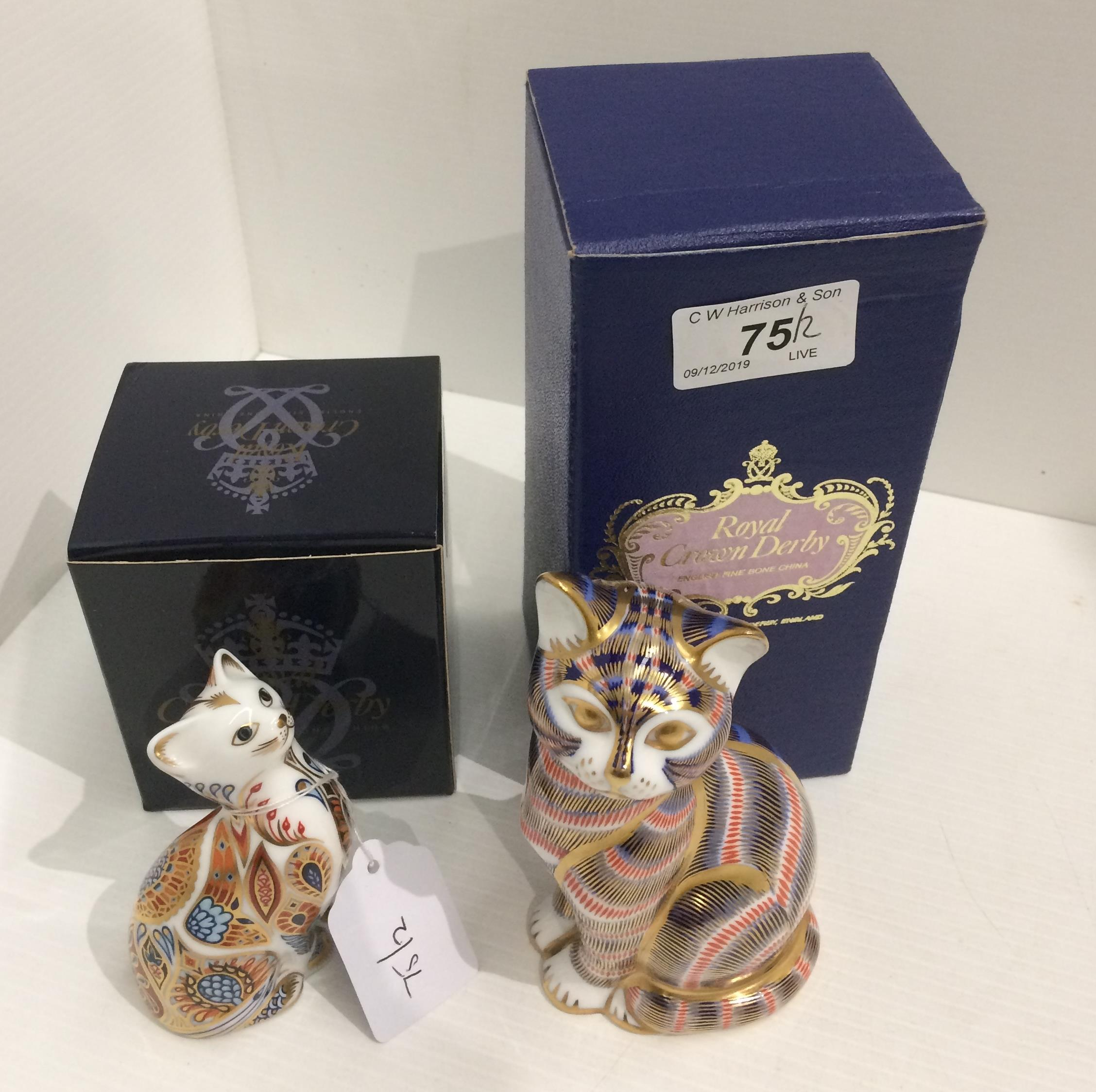 Lot 75 - Two Royal Crown Derby bone china paperweights - Cat 13.5cm high and Siamese Kitten 9.