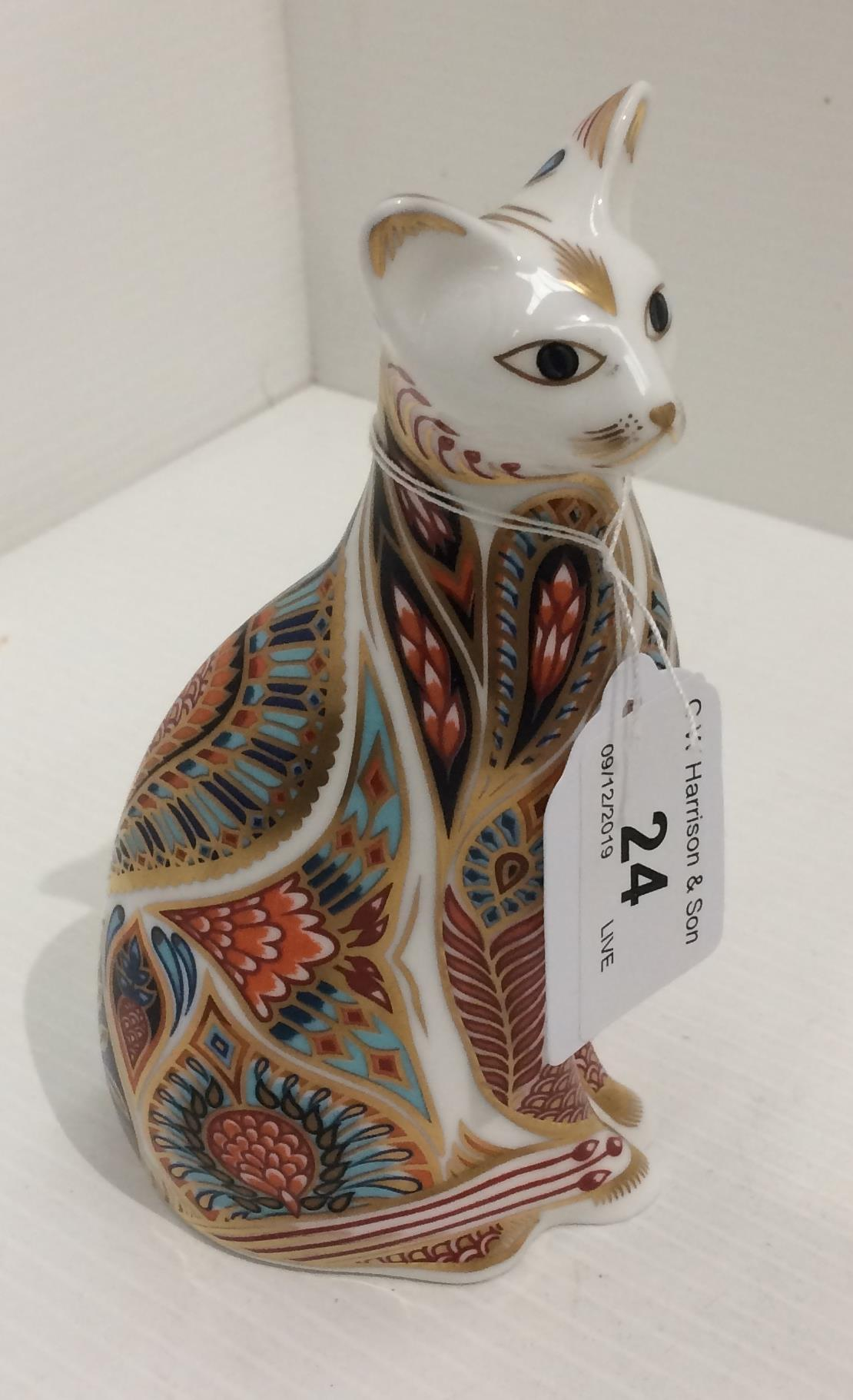 Lot 24 - A Royal Crown Derby bone china cat paperweight 14cm high