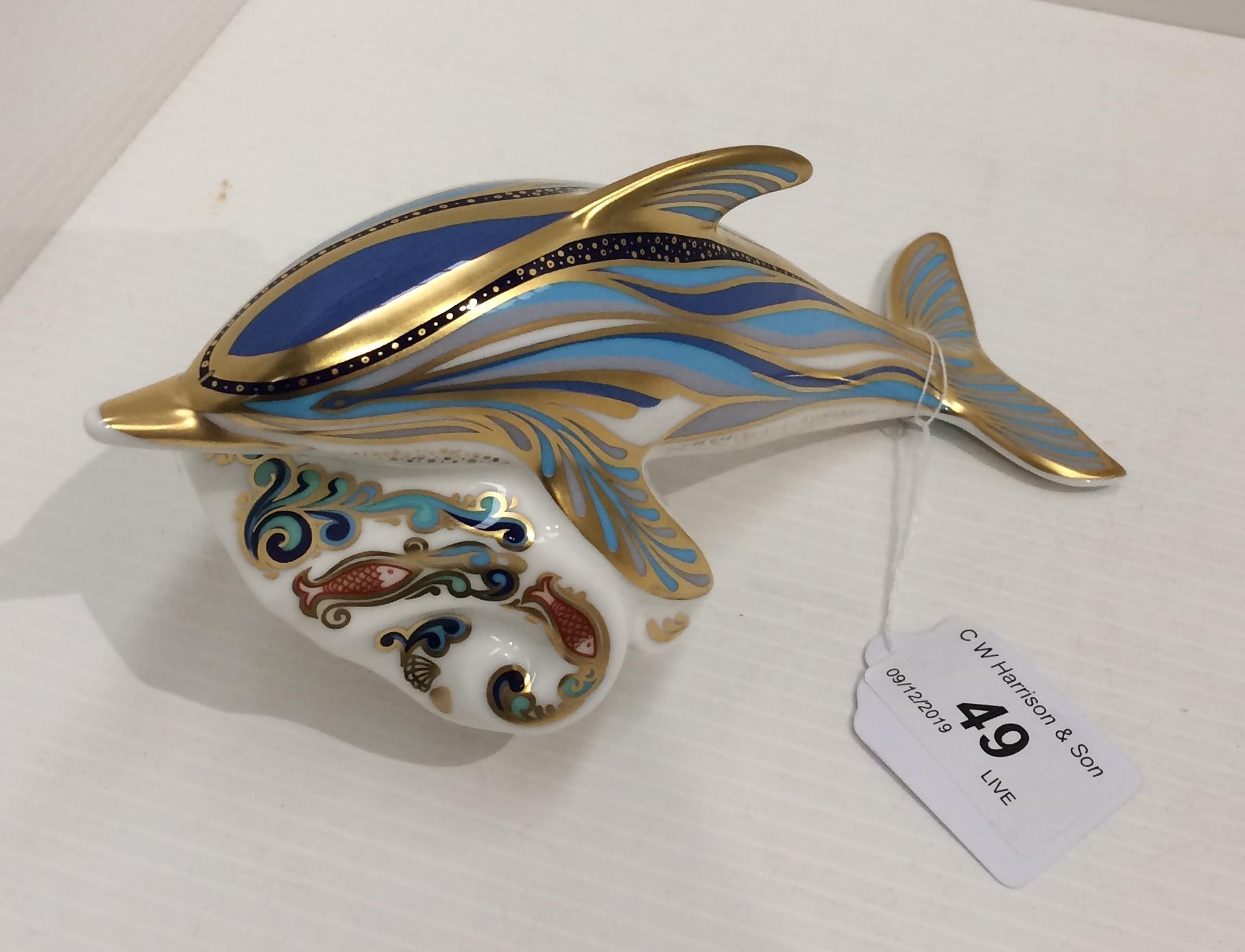 Lot 49 - A Royal Crown Derby bone china P/W Striped Dolphin paperweight - 18cm long,