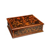 Lot 83 - A WILLIAM AND MARY PERIOD WALNUT AND FLORAL MARQUETRY LACE BOX of rectangular form, the top inlaid