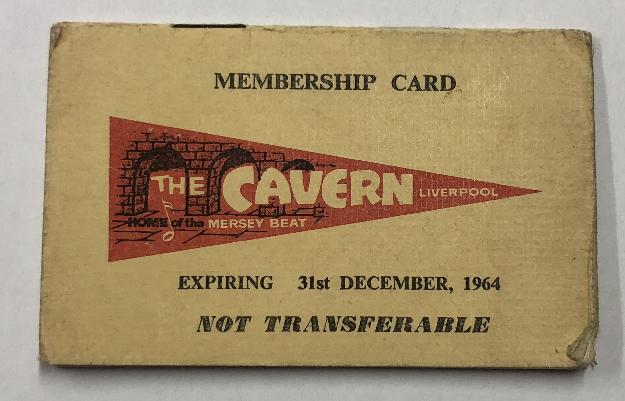 The Cavern Club An Original Membership Card From 1964 Beatles
