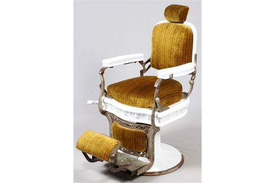 "Previous - ANTIQUE KOKEN BARBER CHAIR, H 45"", L 26"", D 40""A"
