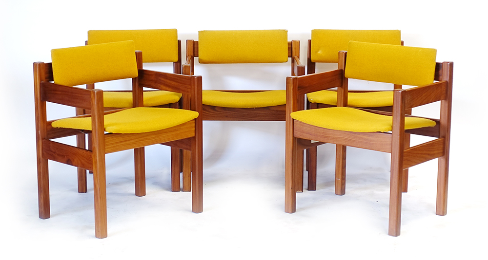 Lot 58 - A set of five 1960/70's teak and mustard upholstered chairs, including three armchairs,