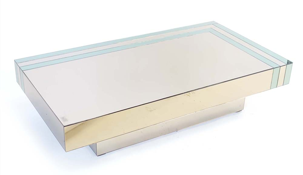 Lot 45 - A French 1970's two-tone mirrored occasional table, l.