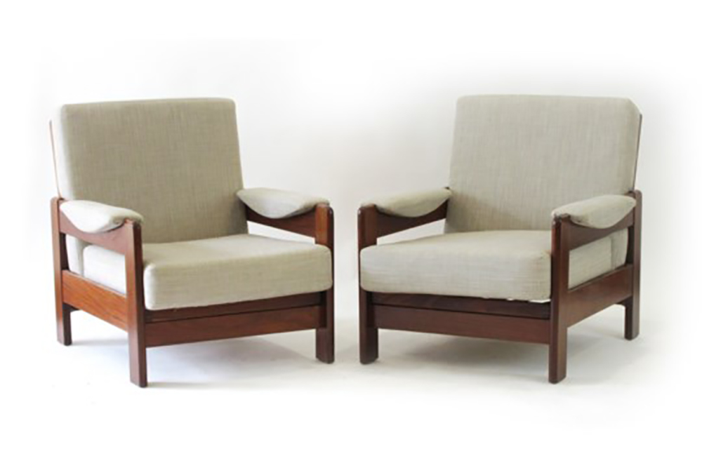 Lot 17 - A pair of 1960/70's teak and upholstered armchairs by C.D.