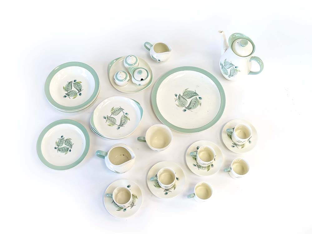 A Wedgwood Woodbury part breakfast service decorated in autumnal patterns