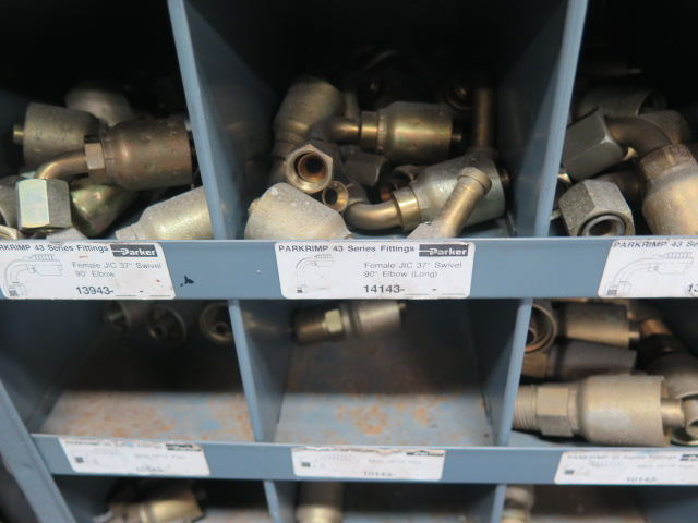 Lot 21 - Hydraulic Hose Fittings and Cabinet