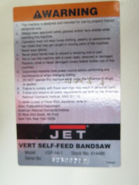 "Lot 32 - Jet mdl. VSF-14-1 14"" Vertical Self Feed Band Saw s/n 80300970"