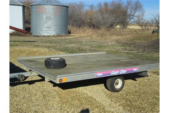 newmans sled bed alum. 2-place skidoo trailer, tilt deck