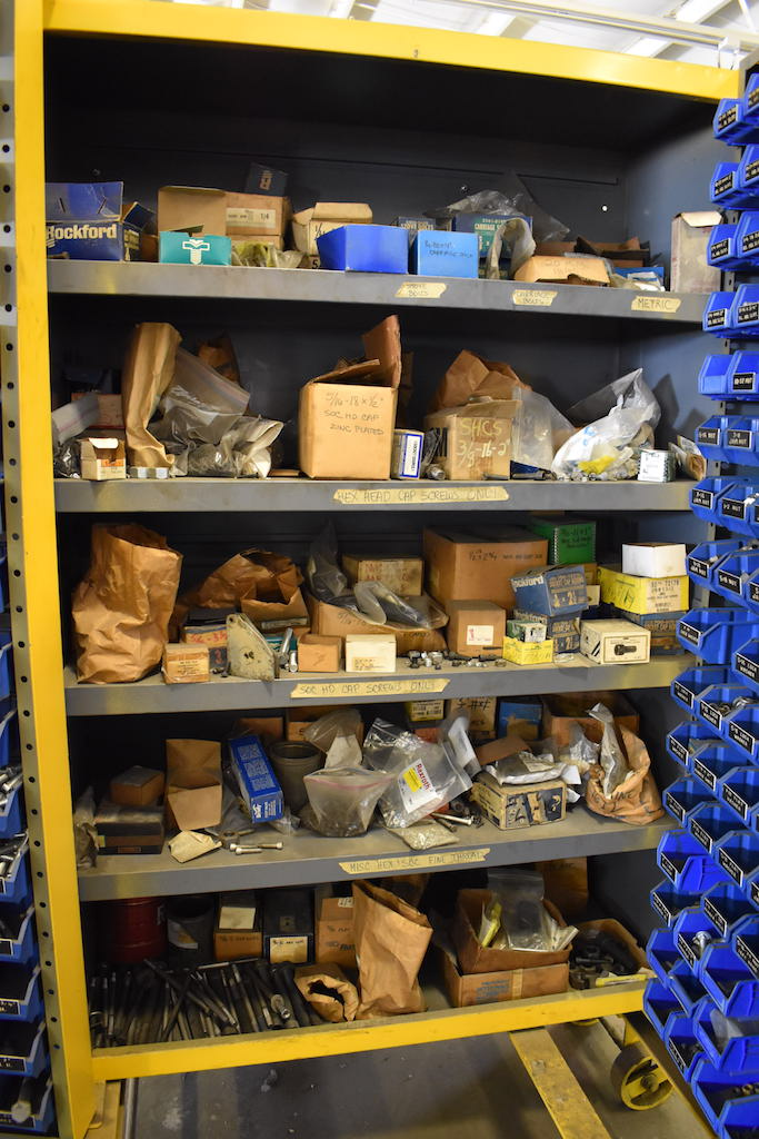 Lot 240 - LOT: HEAVY DUTY PARTS STORAGE CABINETS; W/Parts Bins & 90-Drawer Parts Storage Shelf Mounted On