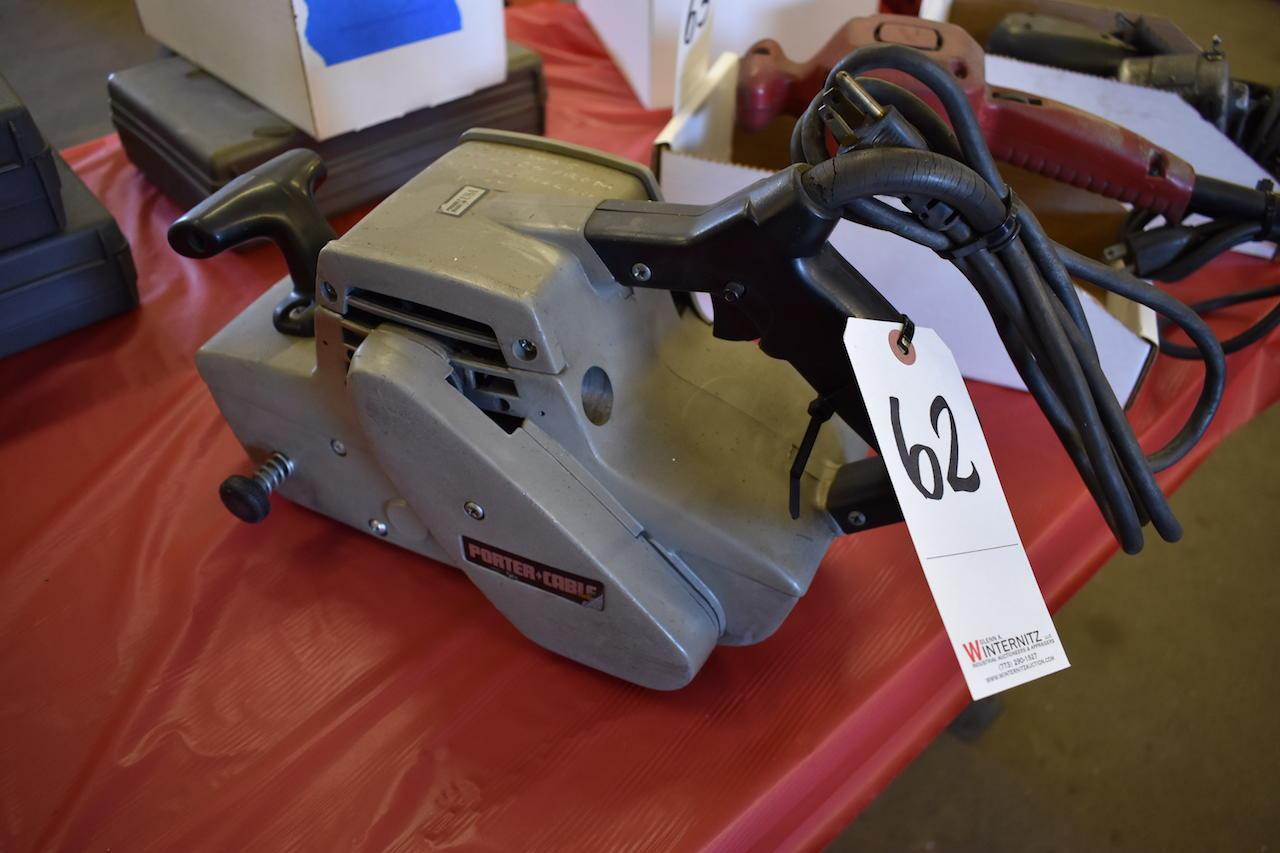 """Lot 62 - PORTER CABLE MODEL 361 BELT SANDER; W/3"""" X 24"""" Sanding Belts"""