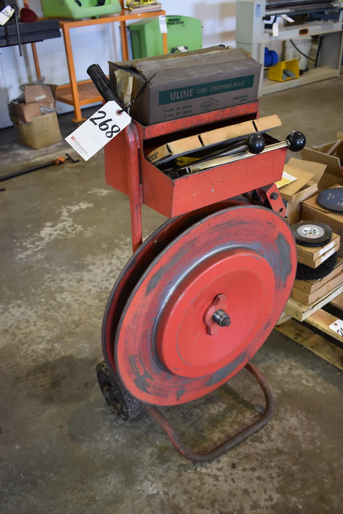 Lot 268 - STEEL STRAPPING CART; W/Tools, Clips & Strapping