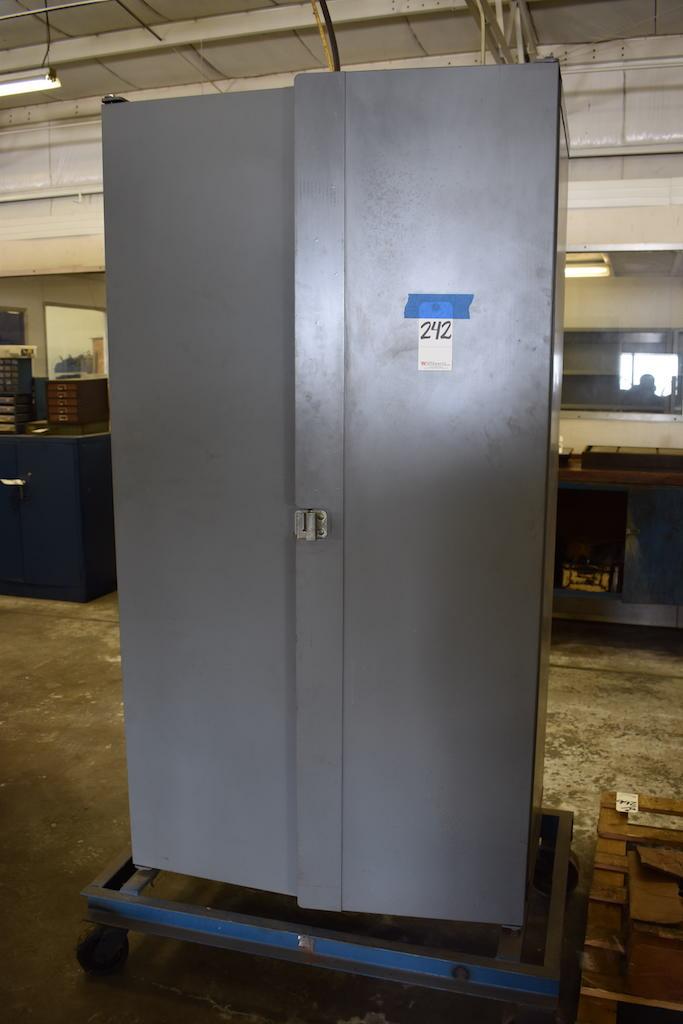 Lot 242 - HEAVY 2-DOOR PARTS BIN STORAGE CABINET W/ASSORTED FITTINGS, ETC.