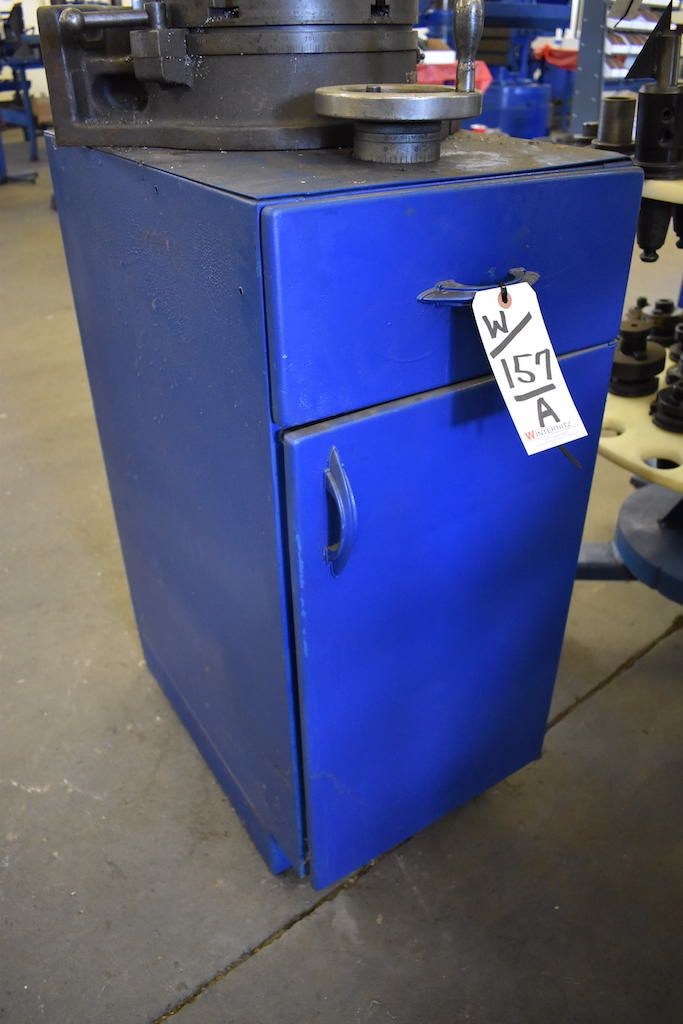 Lot 157A - LOT: STEEL & PLYWOOD RACK & STORAGE CABINET
