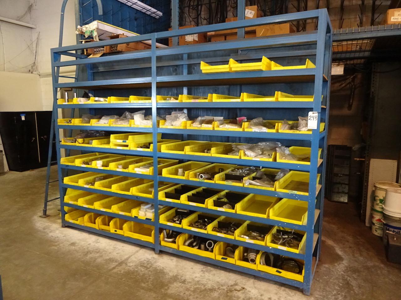 Lot 243 - 8-TIER STEEL PARTS STORAGE RACK; W/Yellow Plastic Bins (Excludes Bin Contents)