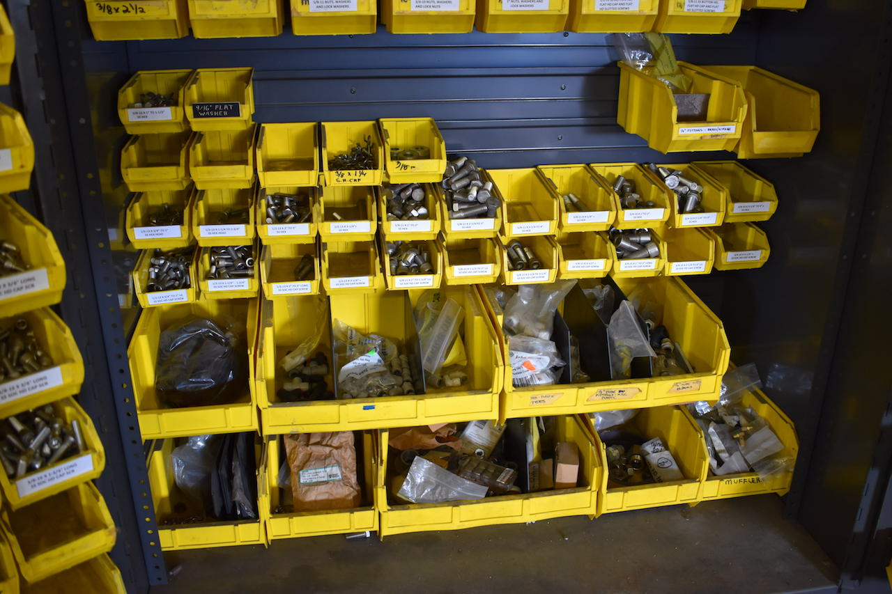 Lot 241 - QUANTUM STORAGE SYSTEMS GLOBAL HEAVY DUTY PORTABLE PARTS BIN STORAGE CABINET; W/Assorted