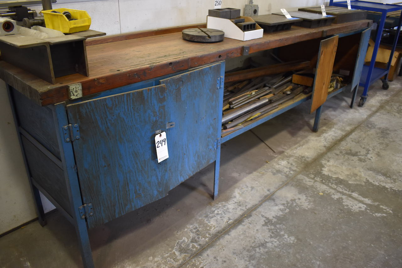 "Lot 249 - 22-1/2"" X 134"" WOOD TOP BENCH"