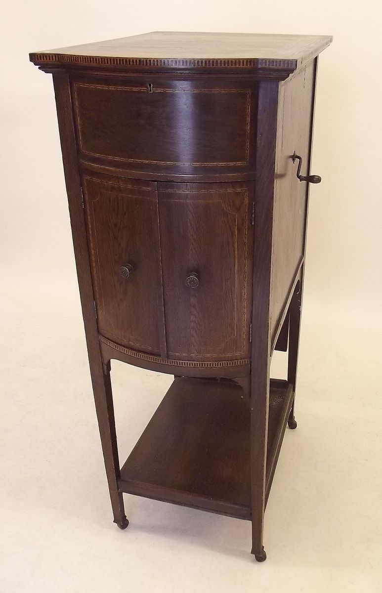 Lot 802 - An HMV gramophone in floor standing oak case with inlay, and Exhibition style speakers