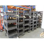 (6) Uline Roll-Around Shelving Units/Parts Carts