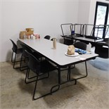 """LOT - (5) 8' X 30"""" LUNCH TABLES W/ (28) CHAIRS"""