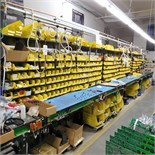 LOT - 28' ELECTRONIC ASSEMBLY LINE TO INCLUDE: 28' ROLLER CONVEYOR, (8) PNEUMATIC TORQUE DRIVERS,