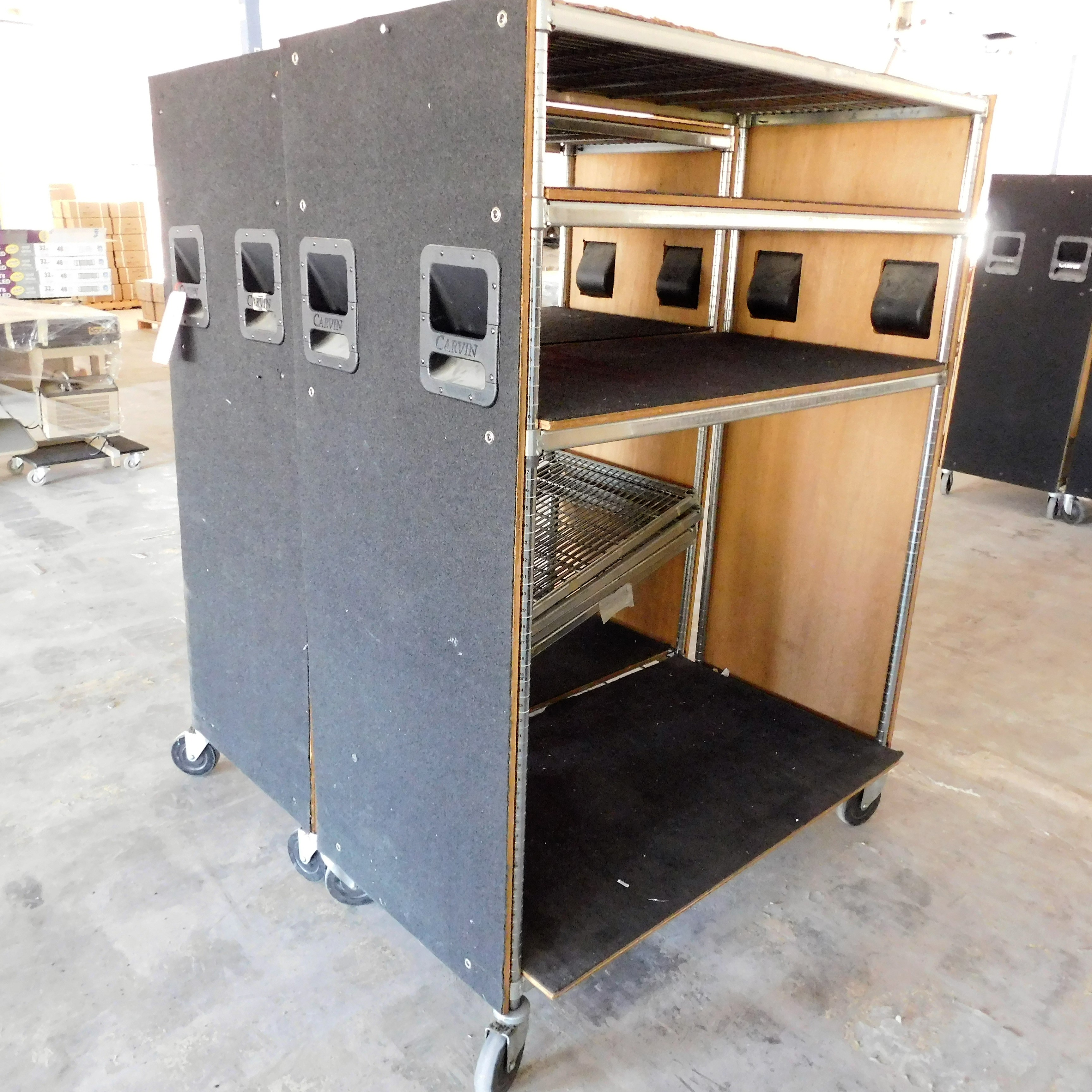 Lot 18 - LOT - (2) WOOD-SKINNED WIRE METRO CARTS, 2' X 4'