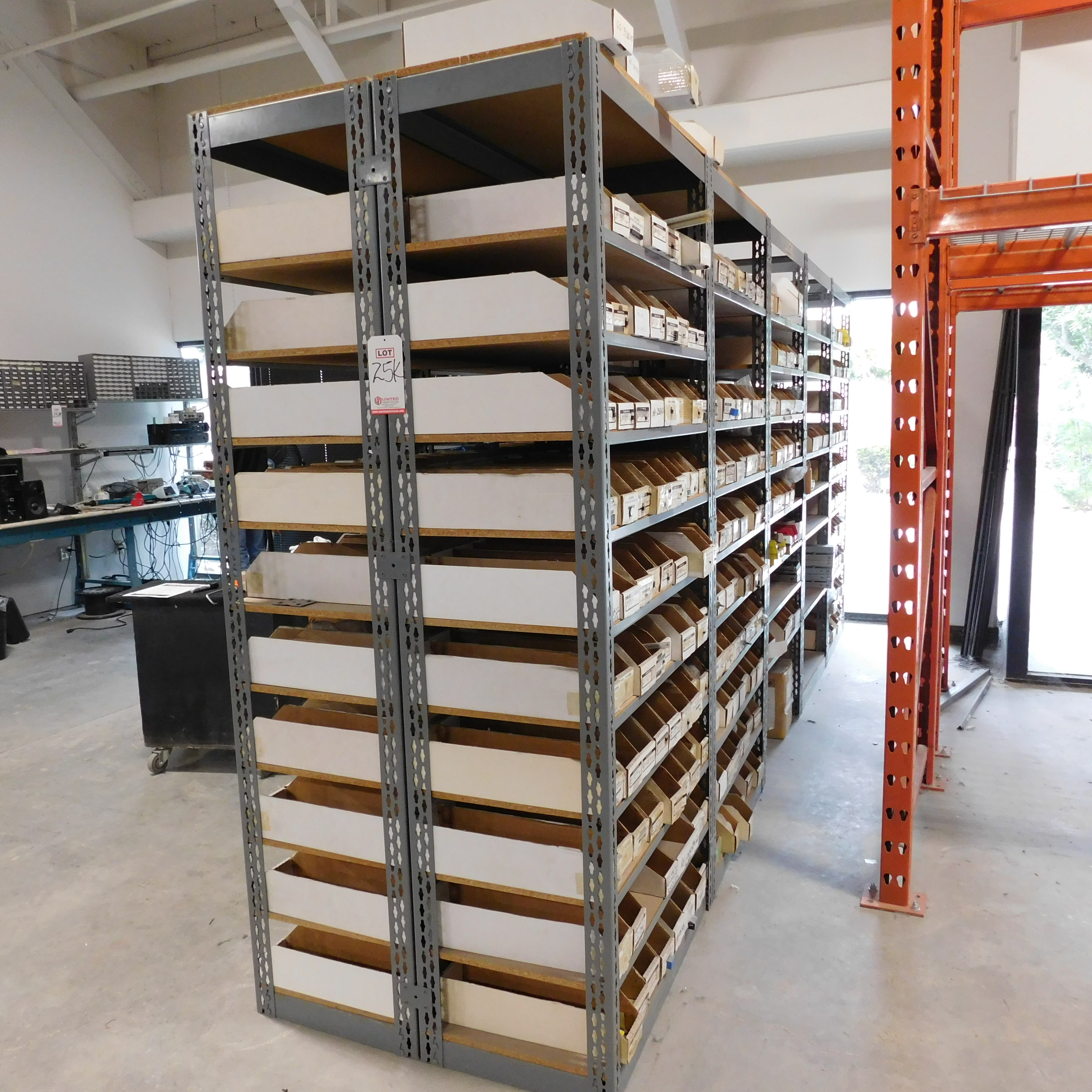Lot 25K - 30' OF SHELVING CONTAINING ELECTRONIC PARTS AND COMPONENTS