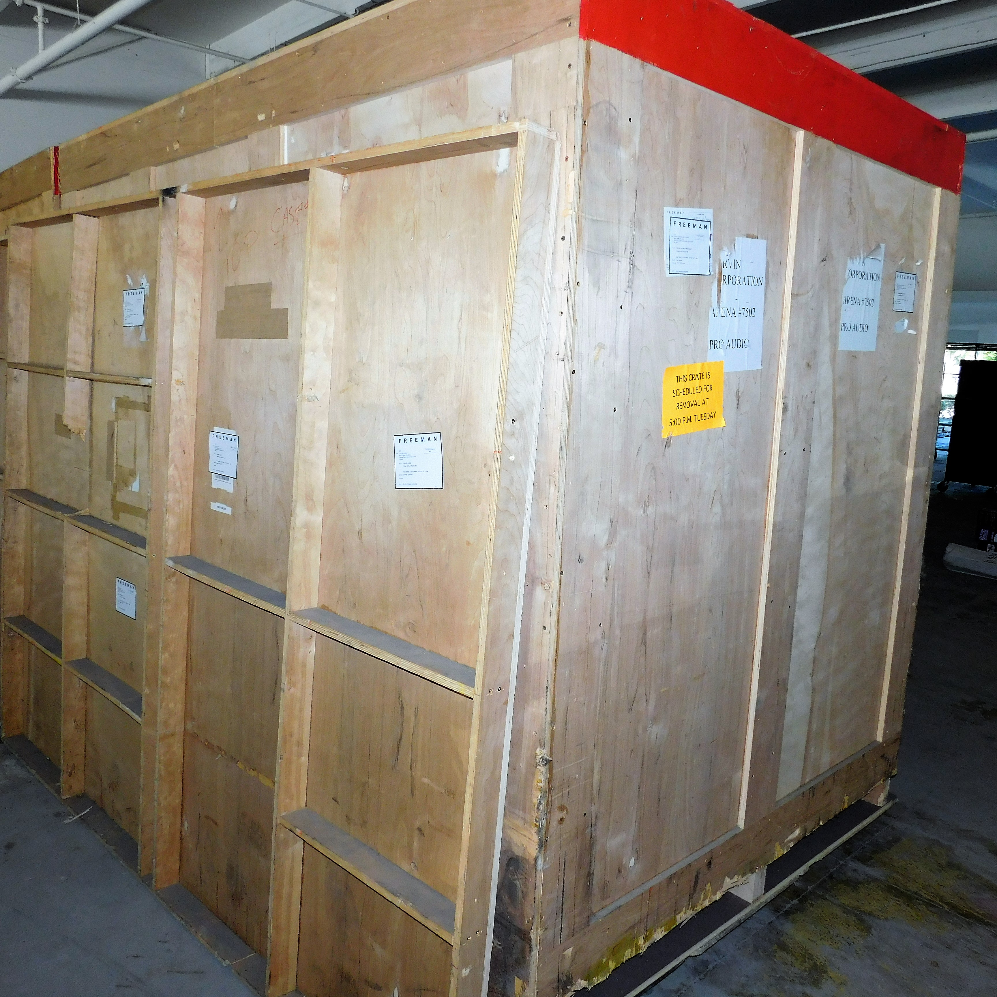 "Lot 23 - WOOD SHIPPING CONTAINER W/ DOOR, 98""W X 82""H X 67""D (CONTENTS NOT INCLUDED)"