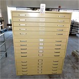 LOT - (3) STACKABLE 5-DRAWER FLAT FILE/BLUEPRINT CABINETS, 3' WIDE DRAWERS