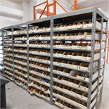 30' OF SHELVING CONTAINING ELECTRONIC PARTS AND COMPONENTS