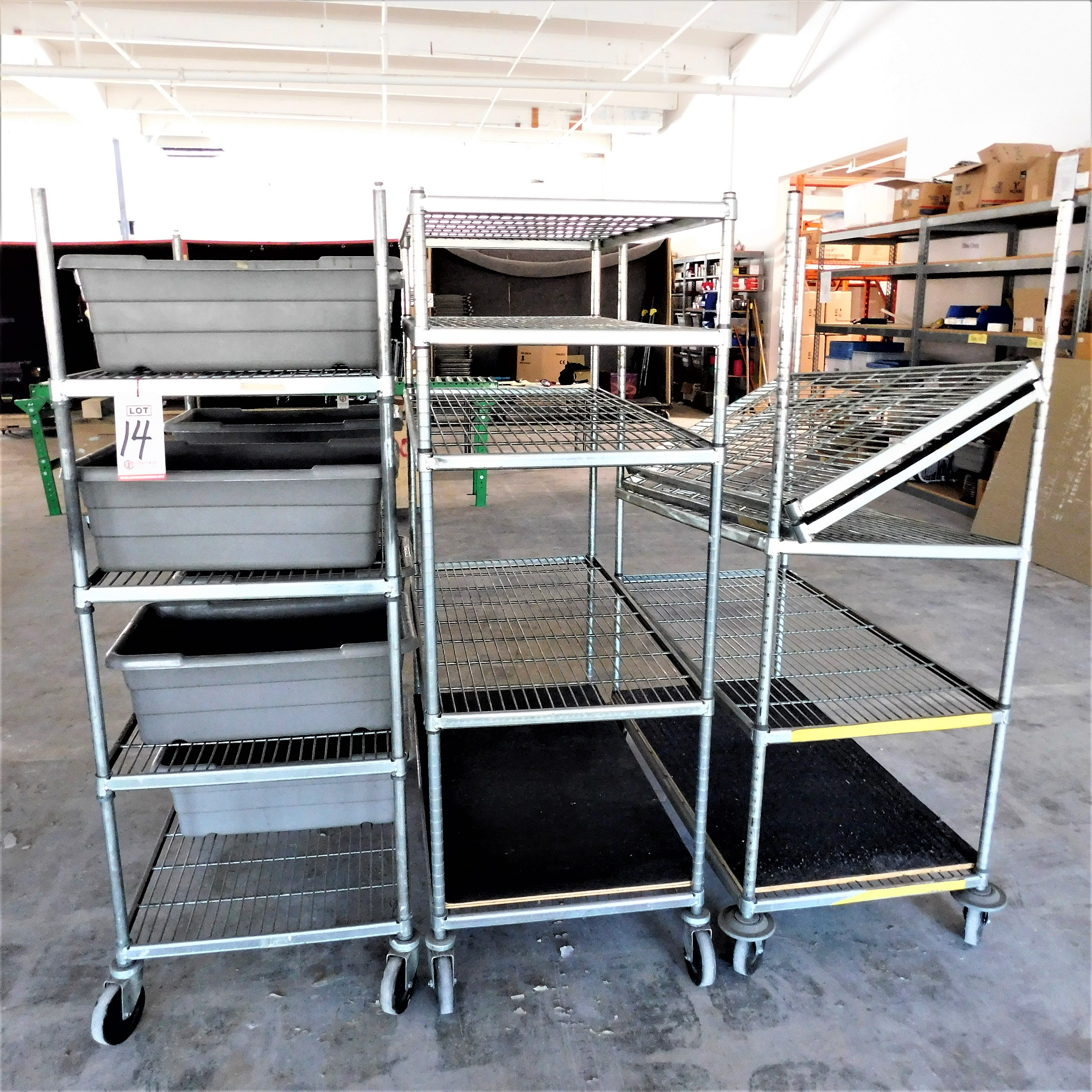 Lot 14 - LOT - (3) WIRE METRO CARTS, 2' X 4', PLASTIC TUBS