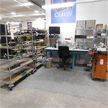 8' WORKBENCH W/ MANY MISC ITEMS, PLUS (2) METRO CARTS OF ELECTRONIC COMPONENTS/BOARDS ETC., TOOL
