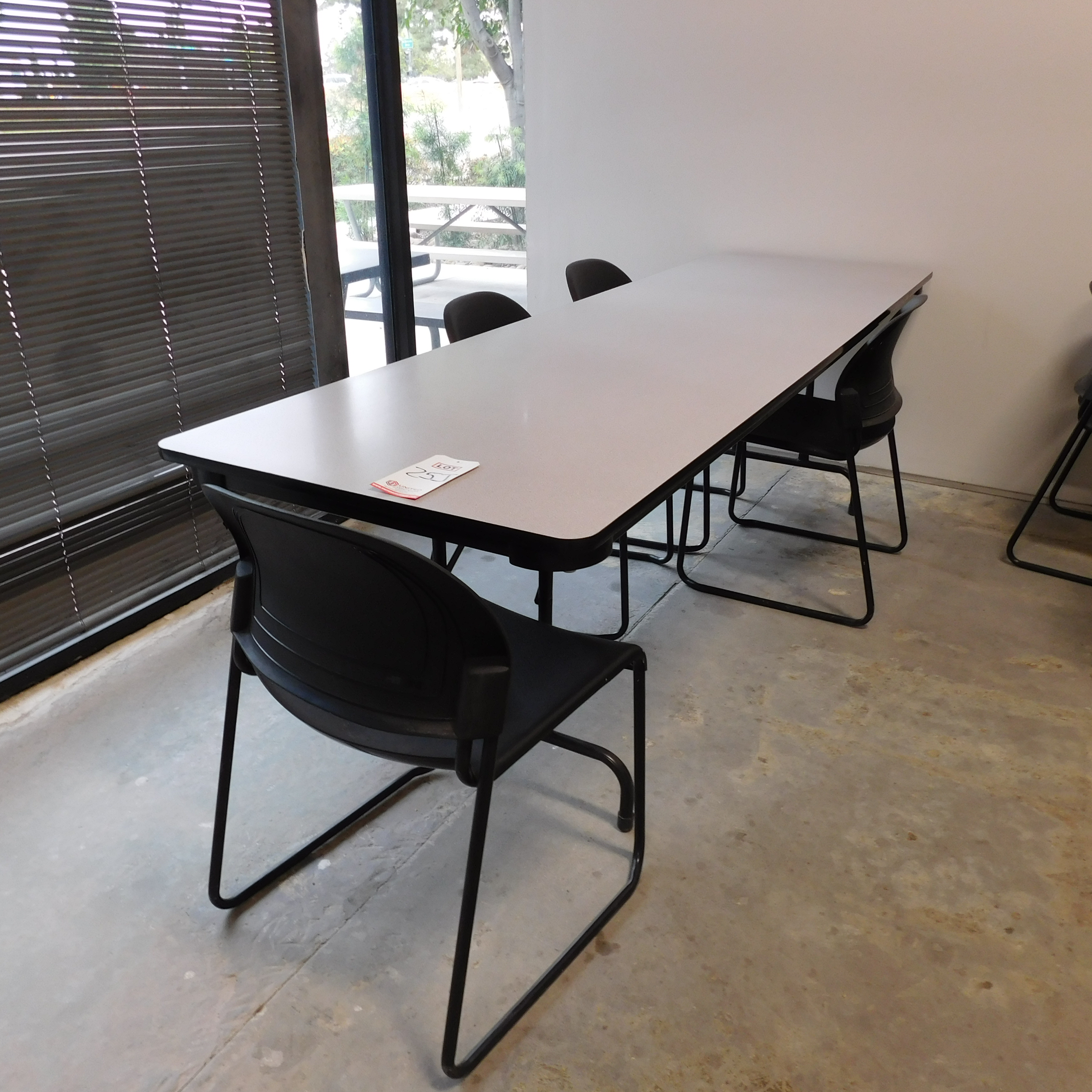"Lot 25J - LOT - (5) 8' X 30"" LUNCH TABLES W/ (28) CHAIRS"