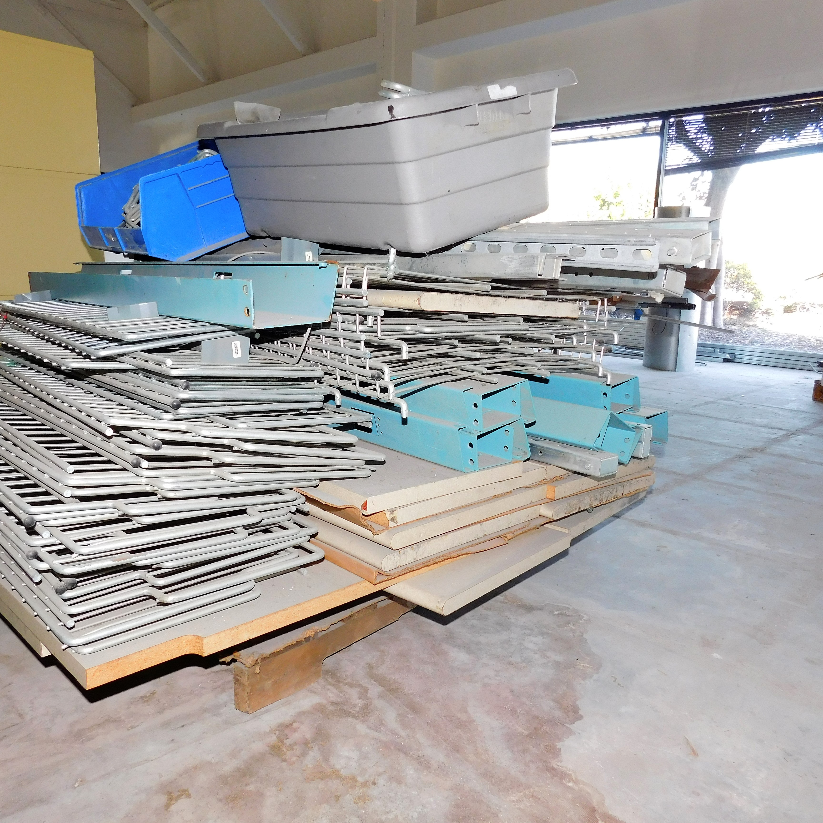 Lot 10 - LOT - PALLET OF DISASSEMBLED WORKBENCHES W/ SHELVING