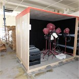 """WOOD SHIPPING CONTAINER W/ DOOR, 98""""W X 82""""H X 67""""D (CONTENTS NOT INCLUDED)"""
