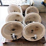 LOT - (7) LAVATORY SINK BOWLS W/ SLOAN FAUCETS, USED